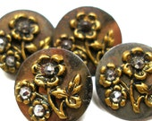 "Antique BUTTONS, 4 Victorian Cut Steel & brass with flowers, 9/16""."