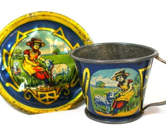1900s Tin Toy Tea Cup & Saucer, Mary Had a Little Lamb, Scarce.