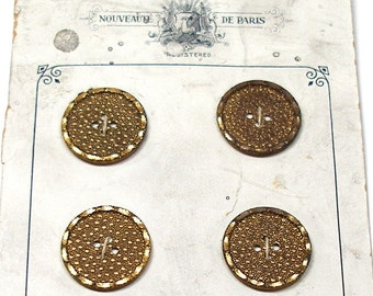 "1900s Edwardian BUTTONS, 6 Antique gold metal, unused on original card. 2/3"" Made in Germany."
