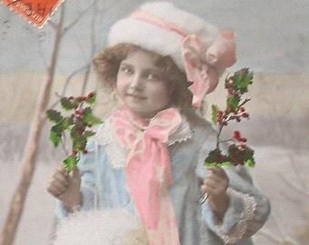 1910s postcard, Edwardian Girl in furs, RPPC paper ephemera.