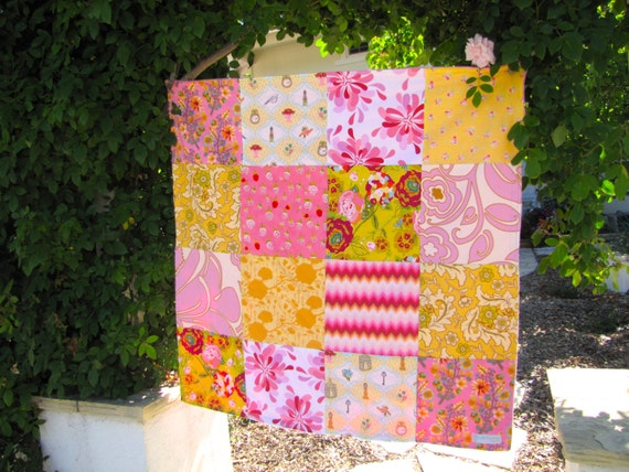 32x32 Pink & Yellow Baby Blanket Ready to Ship