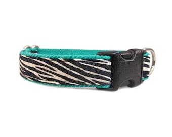 Dog Collar in Zebra Print - Teal Collar for Dogs - Cute Dog Collar - Black and White Dog Collar - Retro Dog Collar - Animal Print Dog Collar
