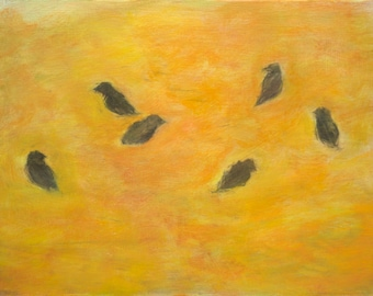 Six Birds on Yellow - original painting, fine art by Irene Stapleford - wantknot shop