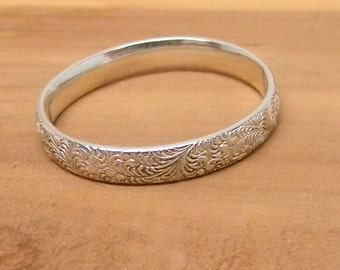 Our Secret Garden Sterling Silver Wedding Band Promise Ring Antiqued