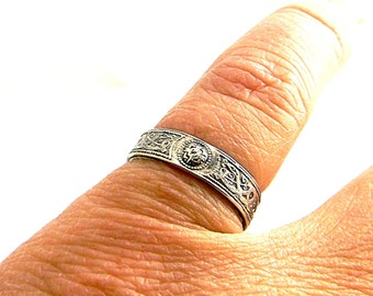 Celtic Knotwork Pattern Wire 4mm Sterling Silver Wedding Band Promise Ring