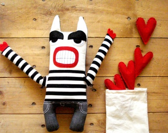 Stealer of Hearts stuf stuffed toys toys plush plushie striped stripes recycled