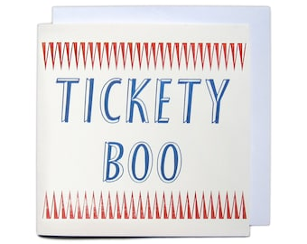 Letterpress Festival Greetings Card - Tickety Boo