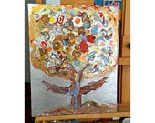 My Silver Tree  -  Original Mixed Media Painting  16 x 20 inches Canvas - By FLOR LARIOS