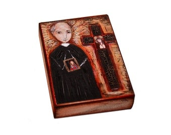 Saint Vincent Pallotti - Giclee print mounted on Wood (5 x 7 inches) Folk Art  by FLOR LARIOS