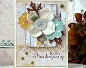 SALE Happy Thanksgiving Shabby  Chic Handmade Card