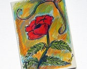 Red  Poppy - Flower Card - Flower Painting - Hand Painted Card
