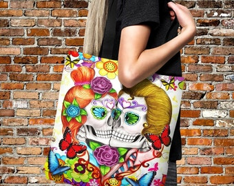 "Sugar Skull Tote Bag Over Sized 18"" x 18""   Beach Bag -Shopping Bag-Handbag-Everything Bag ""Crazy For You"""" Design"