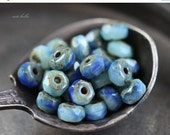 10% off SKY No. 2 .. 30 Premium Picasso Czech Rondelle Glass Beads 3x5mm (4173-st)