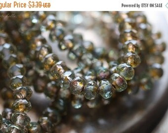 10% off GOLDEN POND BABIES .. 30 Premium Picasso Czech Glass Rondelle Beads 3x5mm (4262-st)