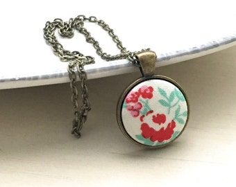 Handmade Fabric Button Necklace, Pendant Necklace, Statement Necklace, Jewelry, Flower Necklace