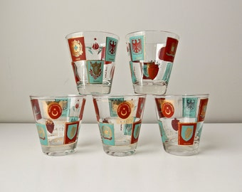 5 Fred Press mid century Coat of Arms Drinking Glasses