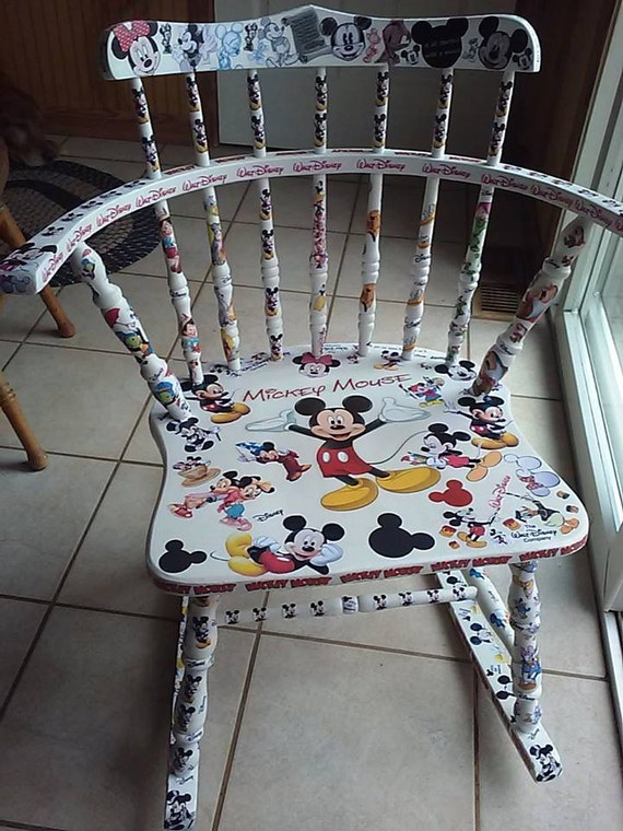 Decoupage Mickey Mouse Winnie The Pooh Adult Rocking Chair