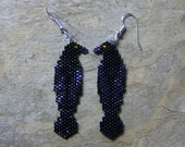 Reserved for CSW Schorr Raven Earrings Hand Made Seed Beaded