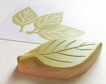 apple leaf hand carved rubber stamp, handmade rubber stamp