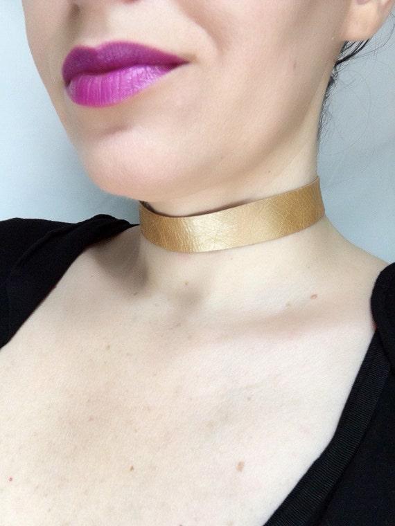 Honey gold leather choker necklace