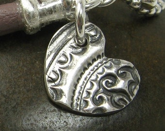 HANDCRAFTED CHARM heart charm fine silver charm or pendant