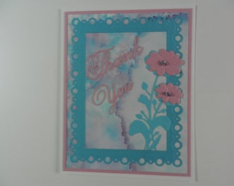 Handmade Greeting card Thank you pink and blue with flower.