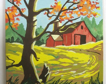 Paint By Number Finished 9 x 12 Country Scene Vintage 1980's