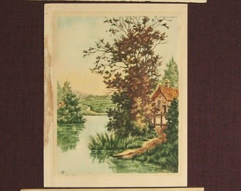 Lucas Gallery Hand Colored Etchings 1930's Vintage Lot of 3