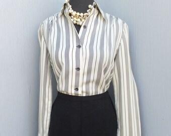 1980s Blouse, Designer Exclusive by Vincent, Black Stripe Career or Suit Blouse, 80s Top, Sportswear