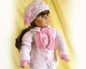 Pink Doll Jacket Hat Scarf and Gloves 18 Inch Doll Knit Jacket AG Doll Knit Pink Sweater American Girl Doll Pink Jacket and Hat Ensemble