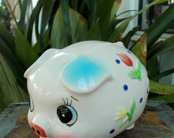White Piggy Bank With Tulip Flowers And Coiled Tail / Made in Japan / Kitsch Home Decor / Vintage Piggy Bank