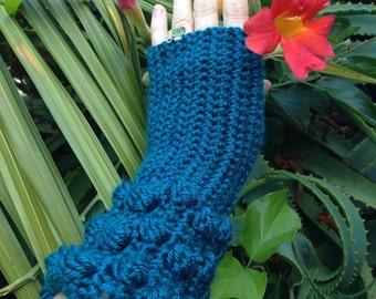 Hand Crochet Teal Gloves