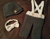 Crochet Newborn Suspender Pants, Newsboy Hat and Bowtie Set - MADE TO ORDER - Newborn 0-3 Month and 3-6 Month Sizes