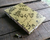 Large Nature Art Journal, Blank Coptic Stitch Green Leaf Lokta Paper Journal, Hand Stitched Nature Sketchbook, Personal Writing Diary