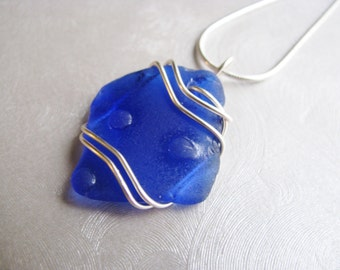Statement Pendant - Cobalt Blue Sea Glass - Beach Glass Jewelry