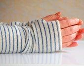 Striped Cashmere Arm Warmers Blue and Cream UK Seller Ready to Ship