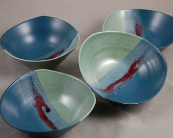 Bowls Set of 4 in Aqua Teal Blue and Red Soup Salad Side Bowl Contemporary Dinnerware