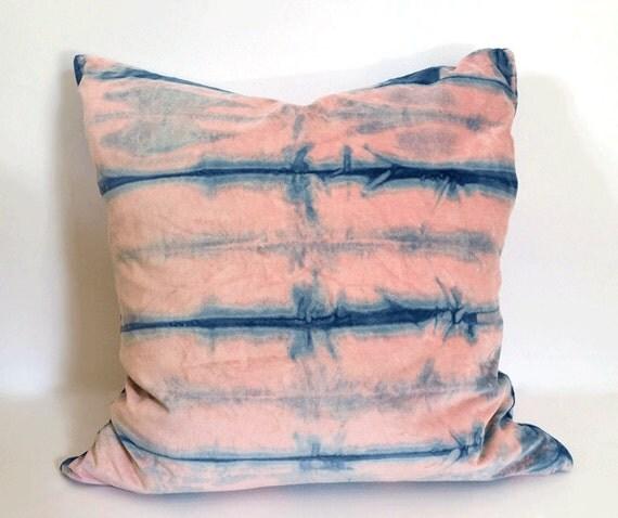 Indigo Shibori Style Velvet Pillow | Rose Quartz & Serenity