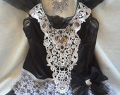 MidWinter Sale 20% Off TUNIC Top Holidays Cami Romantic Rhinestones Lace - Vintage Cami Make Over - Black and Gray