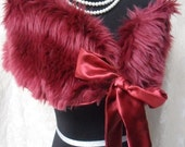 MidWinter Sale 20% Off WRAP Faux Fur Burgundy Cover Up Stole Whimsical Holidays - Wrap - Burgundy