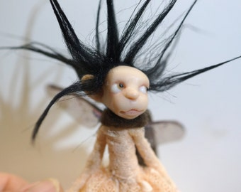 ooak poseable dark HAIR PIXIE fairy( #2 ) polymer clay art doll by DinkyDarlings elf pixie faery