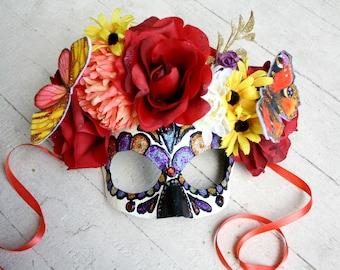 Custom Sugar Skull Mask - Papier-Mache Calavera Day of the Dead Masquerade Mask - MADE TO ORDER