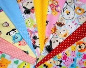 10 pieces Disney Tsum Tsum and matching dots and gingham fabric scrap 25 cm by 25 cm or 9.6 by 9.6  inches