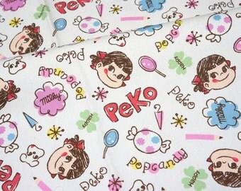 Licensed fabric by fujiya Peko Chan print Japanese Fabric Half meter nc55 ©fujiya