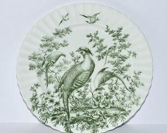 Antique Birds Green Transferware Porcelain Plate