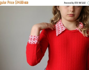 ON SALE 1970s Red Ribbed Bodysuit~Girls Size 8/10