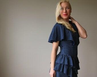 1980s Dot & Ruffle Dress~Size Small to Medium