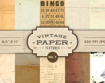 Vintage Paper Textures - No. 7 - Printable Papers  - Digital Scrapbooking - Personal and Commercial Use - Instant Download