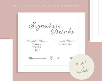 Signature Drinks Wedding Sign   Printable Drink Sign   Downloadable Bar Sign   Wedding Day Sign   Reception Sign   Allie Collection