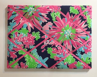 New memo board made with Lilly Pulitzer Sippin and Trippin by Garnet Hill fabric